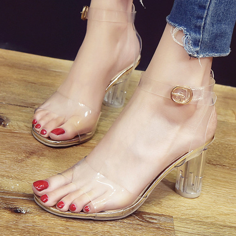 Crystal Sandals Shoes Clear Heel Woman Drop-Ship High-Heels Transparent Waterproof Women