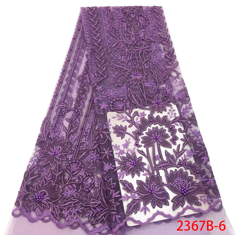 Purple Lace Fabric High Quality African Lace Fabric Latest Embroidery Tulle Lace Fabric With Beads 3d