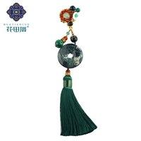 Ethnic Woman Brooch Tassel Handmade Red Black Green Stone J ade Beads Shell Flower Zinc Alloy Female Accessories XZ 18082