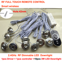 Free Shipping Mini LED Downlights 10x3W AC85 265V include RF Dimmer+Driver+Remote Controller 10pcs 3W LED Spotlight Dimmable