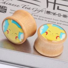 Fashion cartoon explosion wood ear piercing jewelry PLUG expansion Earrings ear defender PIERCING tunnel body jewelry