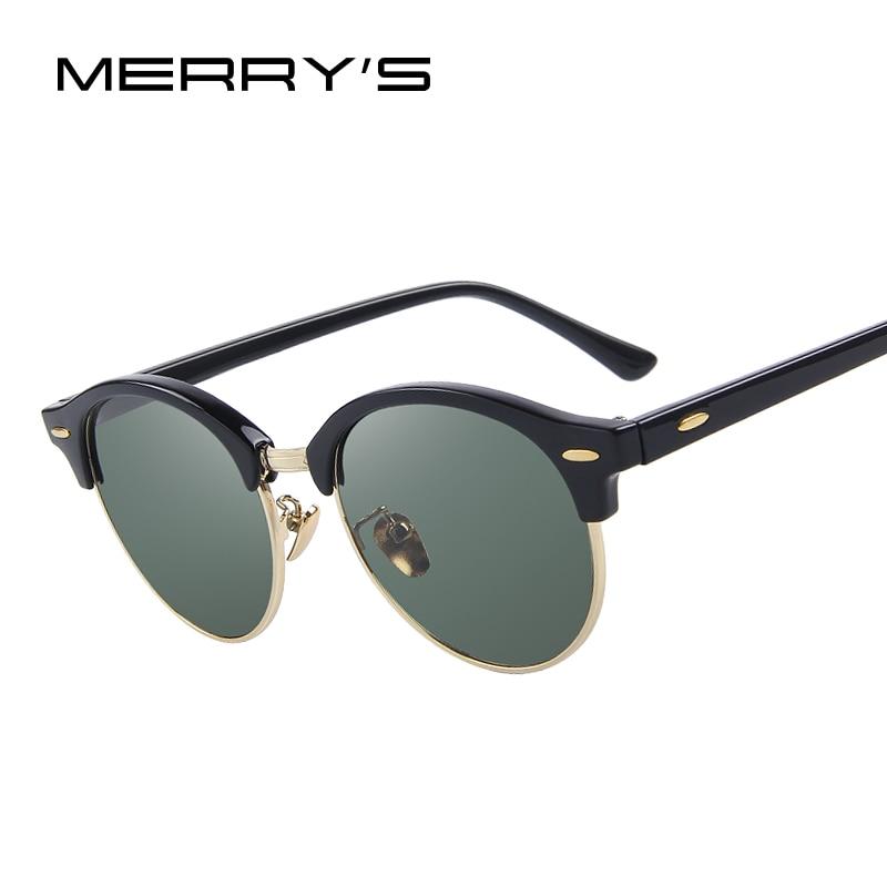 MERRY S Homens Retro Rebite Óculos Polarizados Clássicos Grife Unissex  Óculos De Sol Metade Quadro S  07e0358bcc