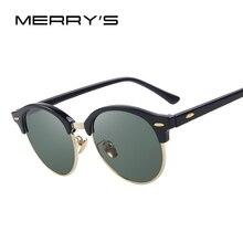 Merry's Для мужчин ретро заклепки поляризационные Солнцезащитные очки Классические Брендовая дизайнерская обувь унисекс Солнцезащитные очки половина Рамка s'8054