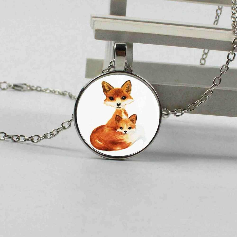 2018 double fox pendant necklace statement silver necklace women's dress accessories glass dome animal pendant jewelry