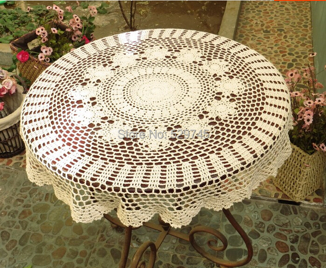 Handmade Crochet Flower Cotton Knit Doilies Round Coffee Table Cloth Cover Decorated Openwork Tablecloths