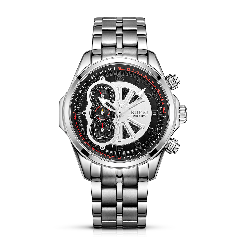 BUREI 17002 Switzerland watches men luxury brand Men's Luminous Precise Quartz Watch Chronograph Stopwatch with Sapphire Lens seiko watch premier series sapphire chronograph quartz men s watch snde23p1
