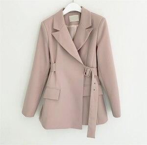 Image 3 - Colorfaith ใหม่ 2019 ฤดูใบไม้ร่วงฤดูหนาวผู้หญิงเสื้อแจ็คเก็ตสำนักงานสุภาพสตรีอย่างเป็นทางการ Outwear Elegant สีชมพูสีดำเสื้อ JK7042