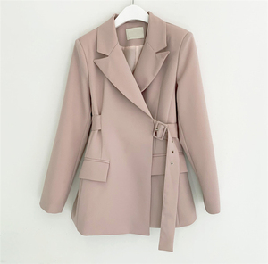 Image 3 - Colorfaith New 2019 Autumn Winter Women Jackets Office Ladies Lace up Formal Outwear Elegant Solid Pink Black Tops JK7042