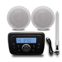 Marine Audio MP3 Radio FM AM Bluetooth Music Stereo+ 4'' 2 Way Marine Boat Waterproof Speakers For Car Outdoor Boat + FM Antenna