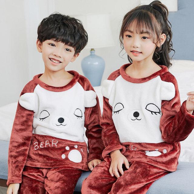 a0c730ed3296 2018 Autumn Winter Children Fleece Pajamas Warm Flannel Sleepwear Girls  Loungewear Coral Fleece Kids Pijamas Cute Nightwear Set