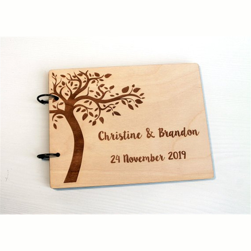 Personalized Guestbook Wedding Guest Book A4 Wooden Notebook  Custom Name & Date Lettering Book Wood Wedding Decoration(China)