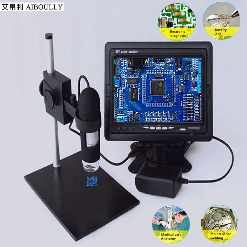 AIBOULLY Zoom 1000 times Digital Microscope PCB Electronic Maintenance with 7 Screen 8 LED Light Jewelery Metal Textile detect