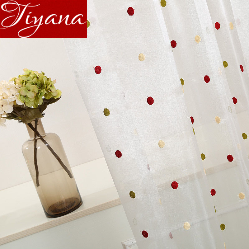 White Semi-Shading Window Bedroom Curtain For Living Room Tulle Curtain Colorful Dots For Kitchen Drape X387#40