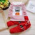 2016 new fashion striped cartoon cat baby girl autumn clothing baby girl spring long-sleeved clothing and pants