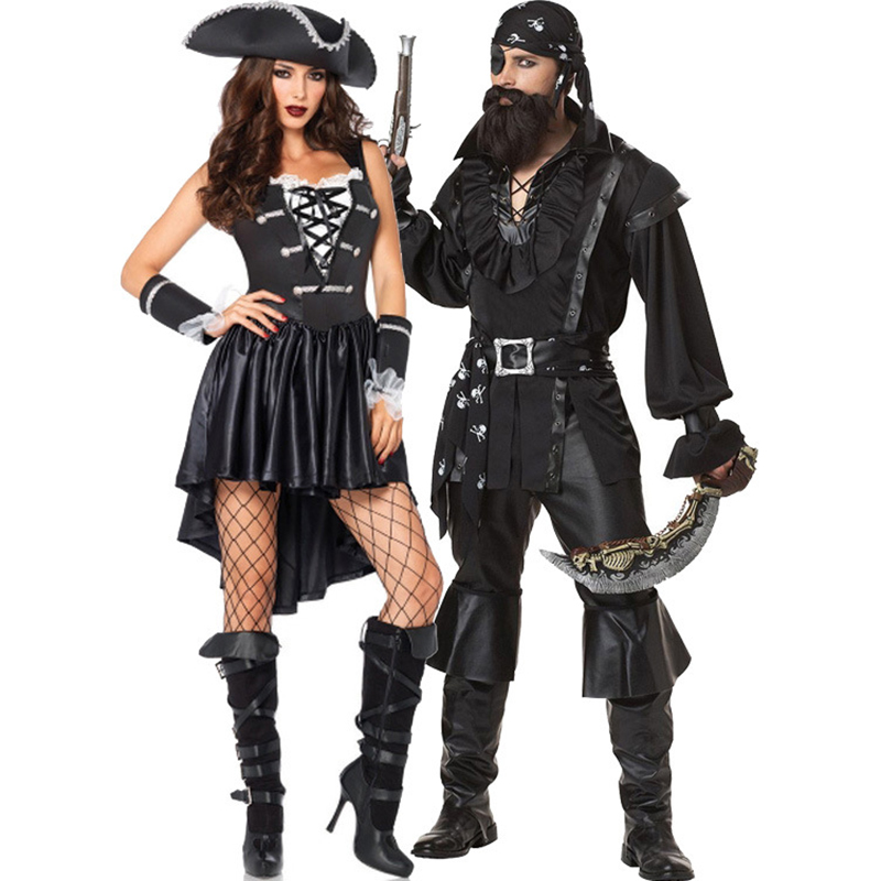 Women Sexy Pirate Costume Adult Men Pirates Of The Caribbean Costume Halloween Game Role Pirate Cosplay Fancy Party Dresses