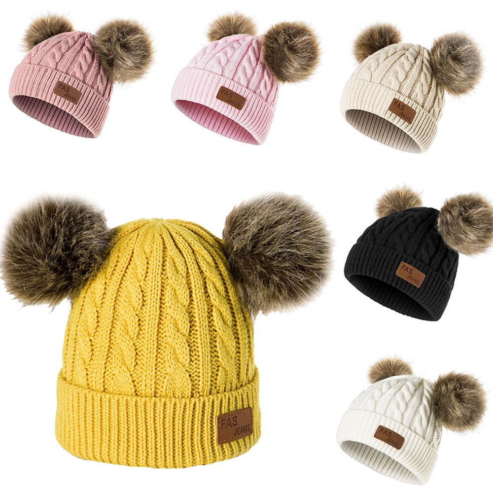 Boy Girl Toddler Kids Baby Ball Pompom Crochet Knit Winter Bonnet Hat Cap Beanie