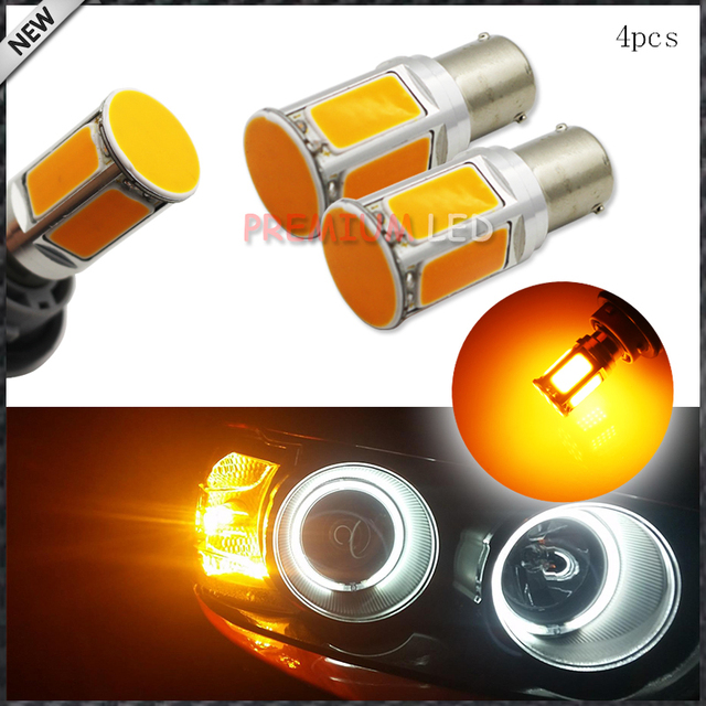 4pcs No Resistor Required Amber Yellow COB LED BAU15S 7507 PY21W 1156PY LED Bulbs For Front Turn Signal Lights(No Hyper Flash)