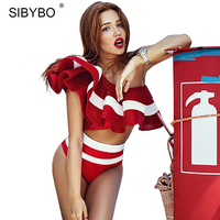 Sibybo Black White Striped Bodysuit Women Ruffles Off Shoulder Summer Romper Sexy Two Piece Beach Party