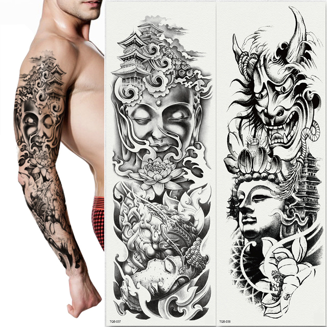 189fb2fe8 2pcs/lot new full arm tattoo sticker large flower shoulder Black White  Buddha Devil Pagoda fake tattoos sleeve cool body paint