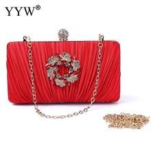 Red Rhinestone Sac Small Women Clutch Bag Pleated Crystal Purse Evening Bag Purple Wedding Handbag Pochette Femme Elegant Bag red blue black purple rose red beige buy 1 present 4 pieces women handbag shoulder bag clutch bag card holder