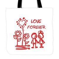 Amor Para Sempre Tote Sacos de Dupla Face Impressão Lidar Com Saco de Compras Da Lona Para O Amante Casal Presente do Dia Dos Namorados