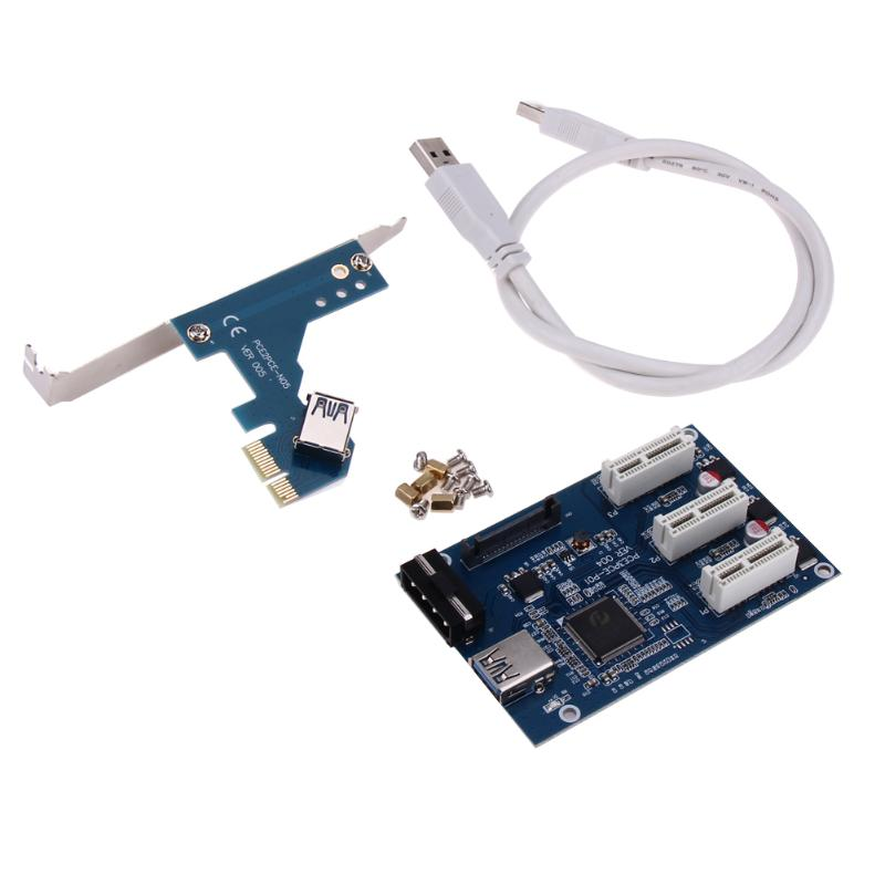 60cm USB 3.0 Cable PCI-E 1 to 3 PCI Express 1X Slot Riser Card Expansion Adapter PCIe Port Multiplier Card for 1U 2U 3U Chassis