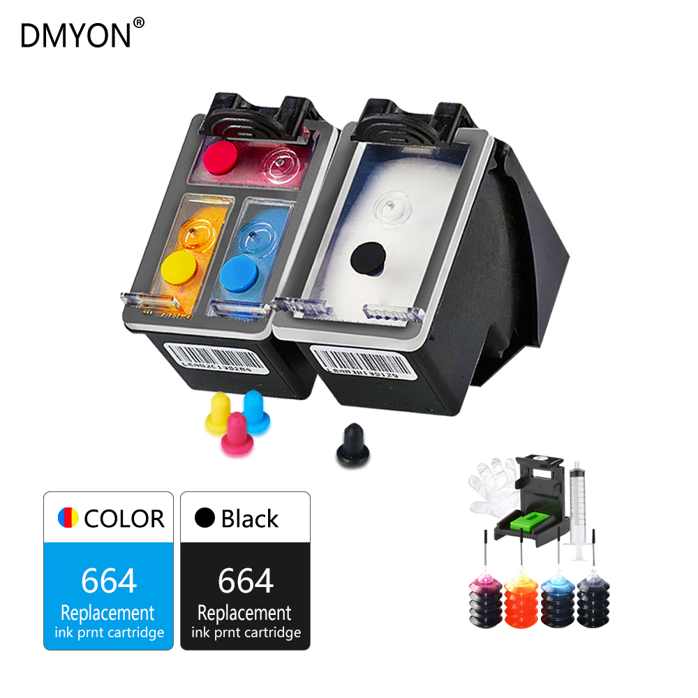 DMYON Replacement for HP 664 Refillable Ink Cartridge DeskJet 1115 2135 3635 1118 2138 3636 3638