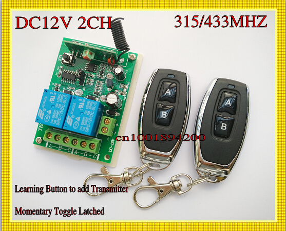 12v 2ch remote switch 315/433 2 relays receiver transmitter learning momentary toggle latched wireless light lock remote on off 315 433mhz 12v 2ch remote control light on off switch 3transmitter 1receiver momentary toggle latched with relay indicator
