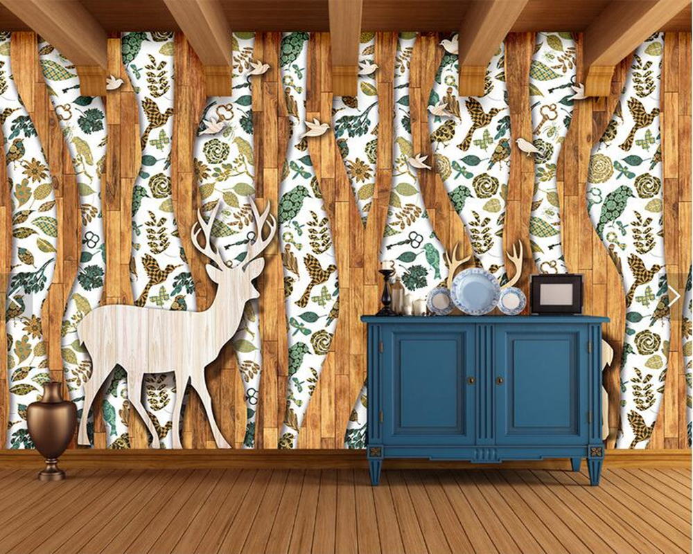 Custom wood texture wallpaper, abstract forest elk and bird murals for living room bedroom sofa background wall decoration paper 3d wood man football background 3d wallpaper murals living room bedroom study paper 3d wallpaper
