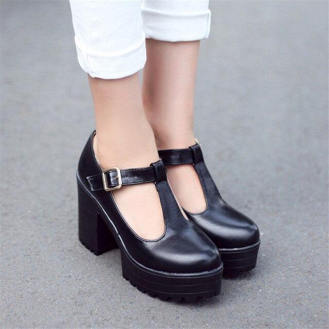PXELENA Retro Punk 2018 New Hot Female T-Strap Chunky Block High Heel  Platform Pumps Woman Dress Buckle Strap Shoes Plus Size 0b6e75da6910
