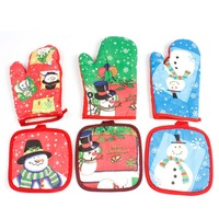 Cute Kitchen Mittens Mat Santa Claus Cartoon Pattern Glove and Bakeware Pad Mat HG99