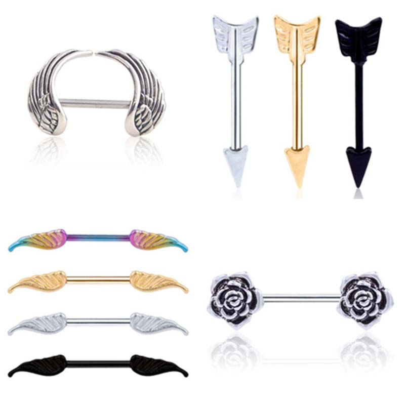 2 pcs lot Surgical Steel Heart Wing Flower Body Nipple Bar Barbell Piercing Shield Rings Rushed Ear Plugs have rod Piercing in Body Jewelry from Jewelry Accessories