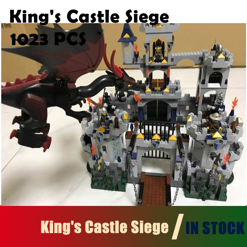 Compatible with Lego Model building blocks 16017 Castle Series 7094 1023pcs King's Castle Siege Figure bricks toys for children lepin 16017 castle series genuine the king s castle siege set children building blocks bricks educational toys model gifts