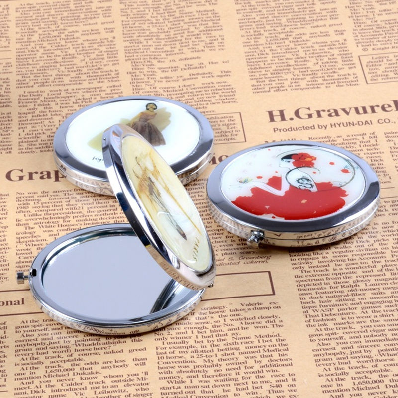 Retro Cosmetic Compact Wedding Mirrors Mini Women Pocket Folding