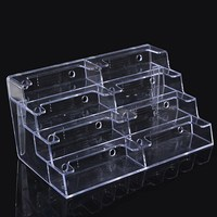 8 Lattice Desktop Clear Transparent Acrylic Business Card Holder Multilayer Card Storage Box Countertop Display Stand