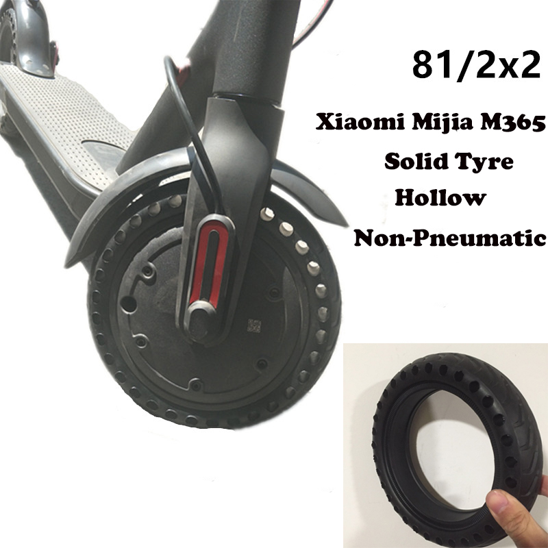 Xiaomi Mijia M365 Electric Scooter Tyre Solid Tire 8 1/2x2 Hollow Non-Pneumatic Tyre Shock Absorber Anti-slip Durable Tyre Wheel