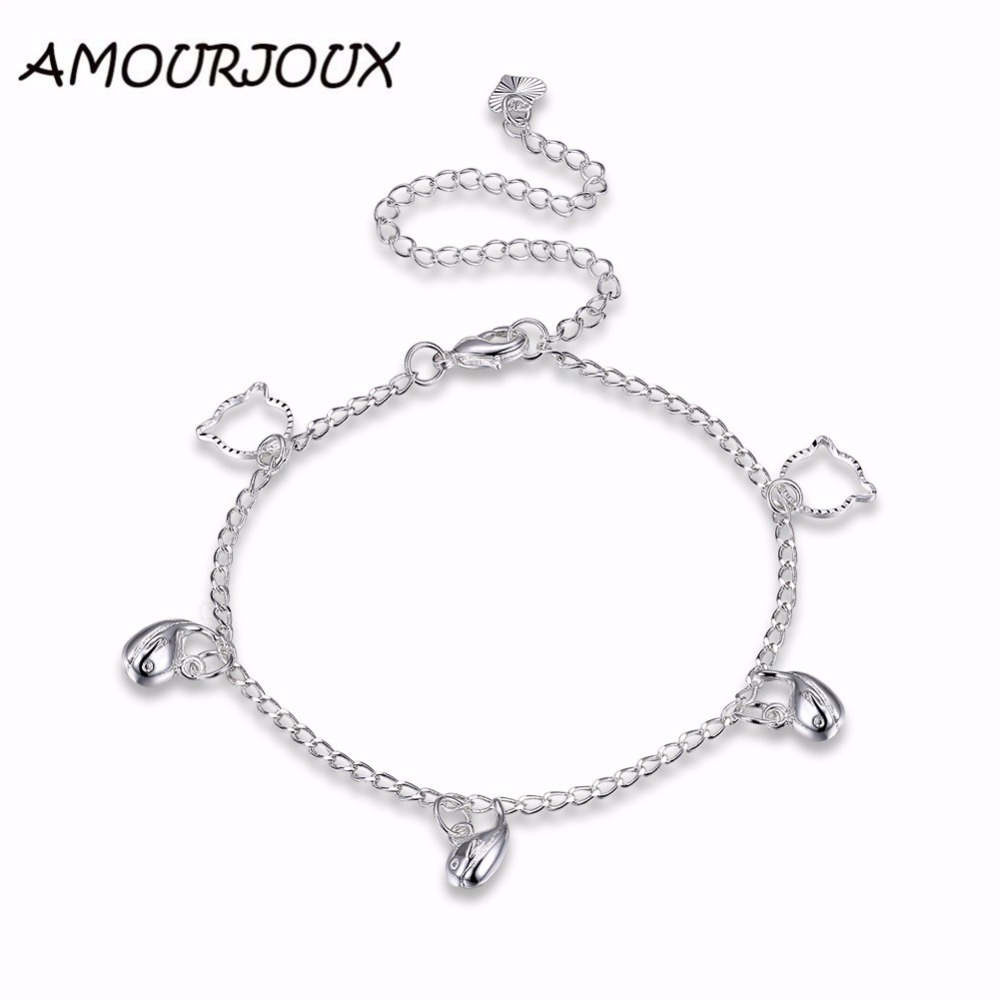AMOURJOUX Silver Plated Cute Fish Charm Anklets For Women Ankle Bracelet On The Leg Anklet Silver