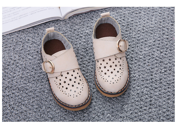 Summer Children Shoes PU Leather Sport Shoes Buckle Strap Child Casual Kids Shoes For Girls Cut-Outs Martin Baby Boys Sneakers 19