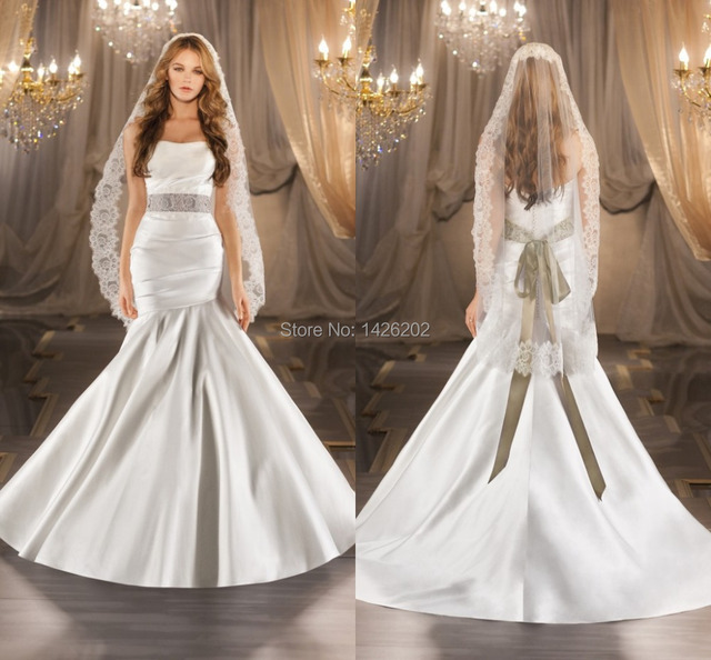 White Satin Trumpet Wedding Dress Sleeveless Long Tail Vestidos De Noiva 2017 Wm 0398 Plus
