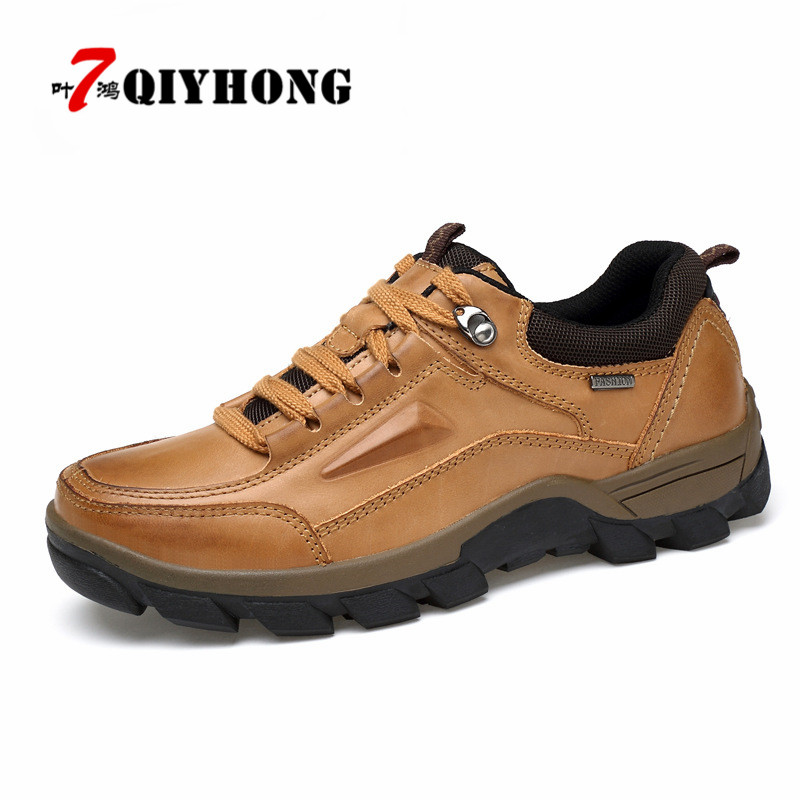 Nouvelle taille 37 ~ 47 chaussures en cuir véritable de haute qualité, chaussures d'hiver de mode faites à la main pour les hommes, en plein air élégant décontracté hommes bottines-in Chaussures décontractées homme from Chaussures    2