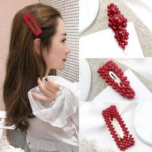 F162 New Bridal Red Pearl Hairpins For Women Chineses Female Hair Clip Wedding Hair Accessories Hair Pins Head Piece(China)