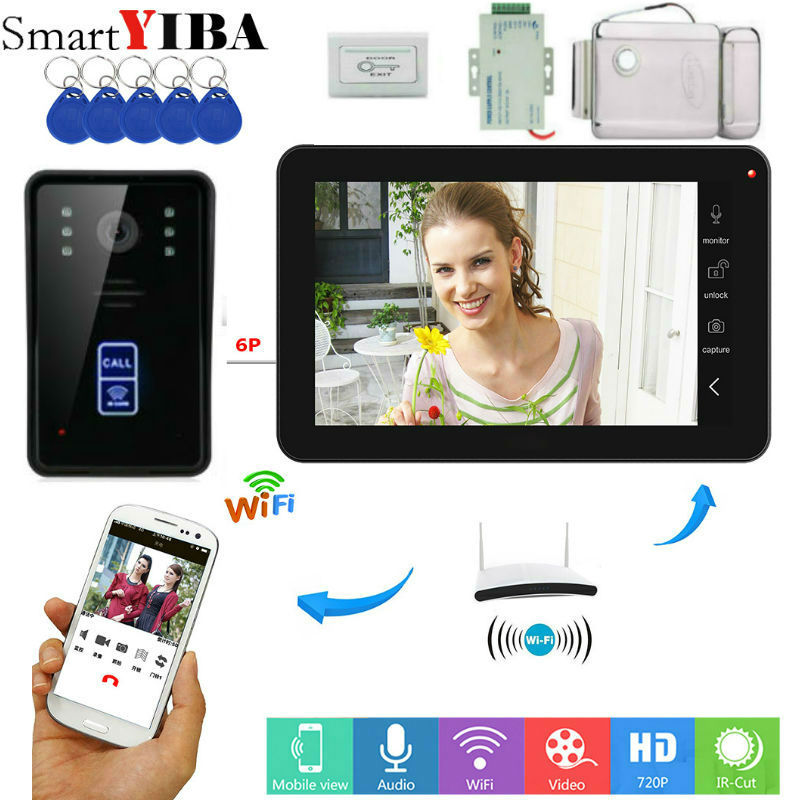 SmartYIBA 9RFID Card Keypad Wifi Wireless 720P HD Video Doorbell Intercom Camera for Android IOS Phone Remote Electric lockSmartYIBA 9RFID Card Keypad Wifi Wireless 720P HD Video Doorbell Intercom Camera for Android IOS Phone Remote Electric lock