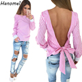 New Backless Striped Women Blouses Tops 2017 Summer Blusas y Camisas Mujer Back Bow Tied Female Shirts Fringe Chemise Femme C273