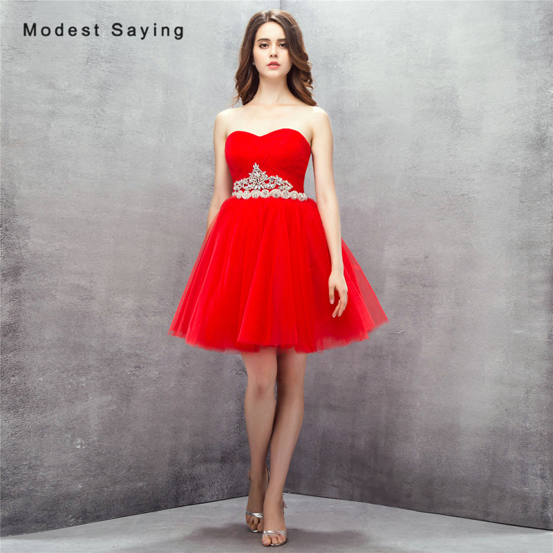 Sexy Red Ball Gown Sweetheart Mini Pleat Beaded Cocktail Dresses 2017 with Rhinestone Formal Short Prom Gowns vestidos de coctel