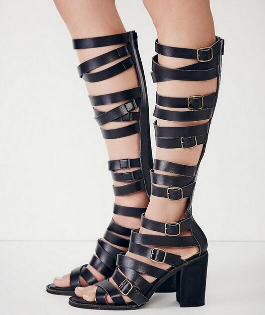 2017 Summer new LTTL black leather cut-outs knee high boots buckles open toe thick high heels gladiator sandals summer boots 2015 new deluxe brand 100% high quality flat summer women knee high gladiator sandals genuine leather cut outs cover heel shoes