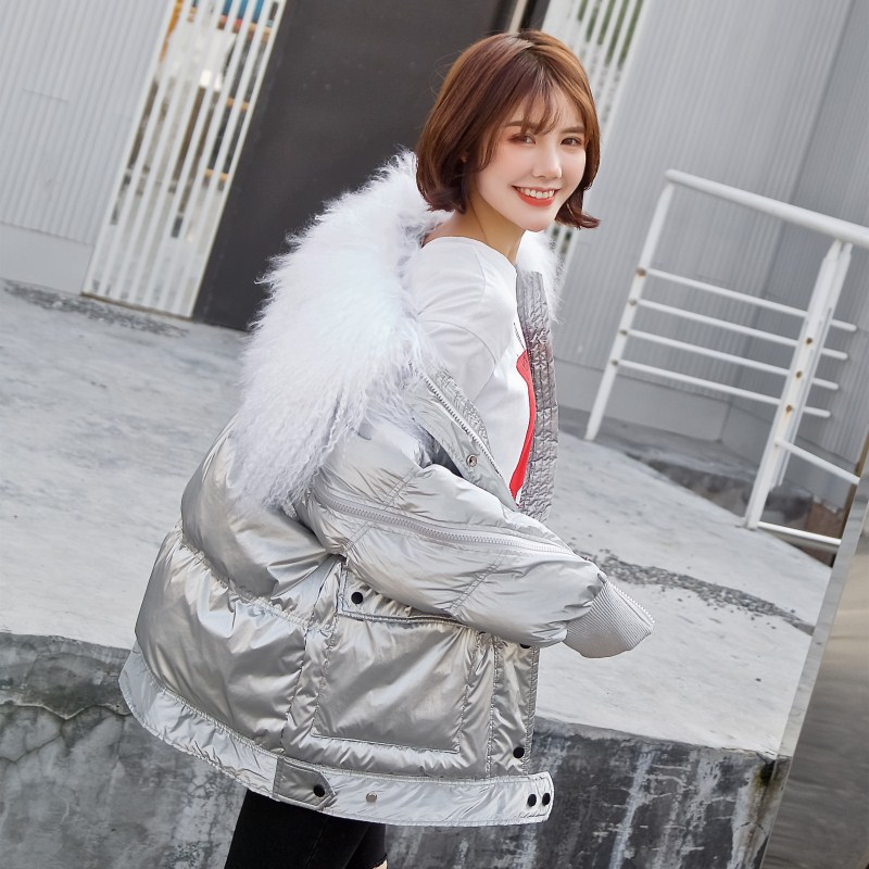 Winter   Down   Jacket Women Natural Large Fur Collar 90% White Duck   Down     Coats   2019 New Arrival Women's Glossy Silver Winter Jacket