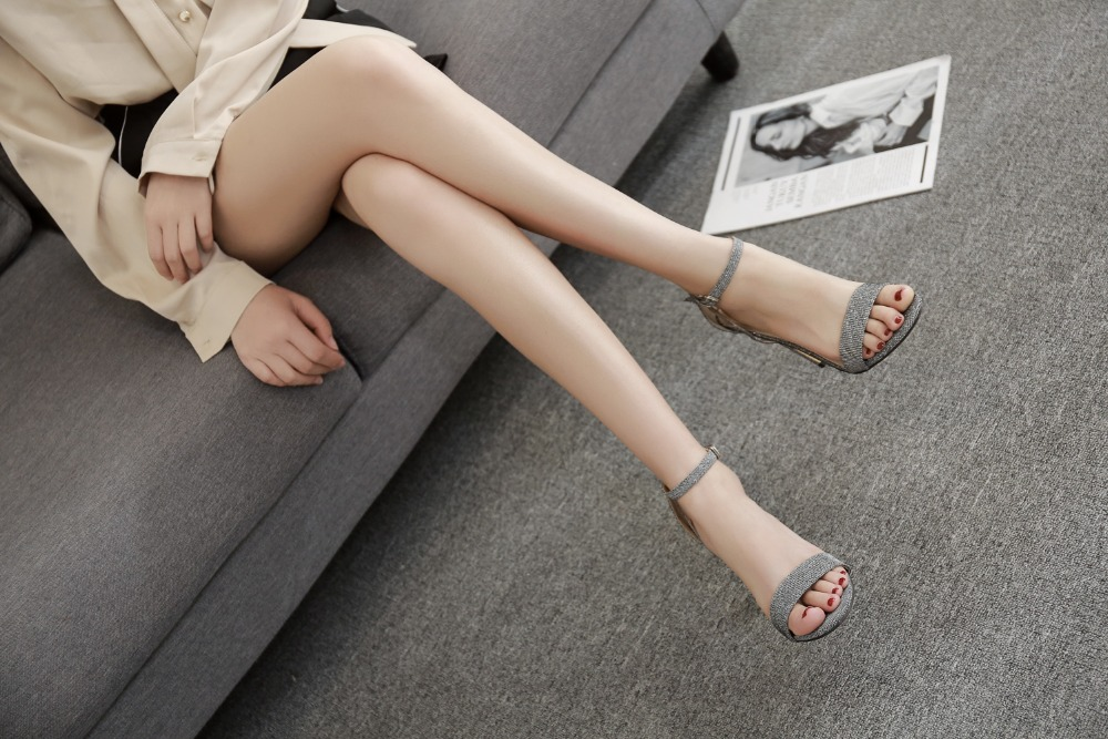 Sexy Silver Open Toe Stiletto High Heels Women Sandals