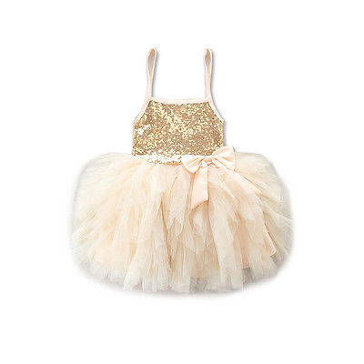 2017 New Cute Princess Kids Girls Dresses Lace Bowknot Sequins Tulle Tutu Dress Wedding Party 2016 new cute baby girls dress kids princess party denim tulle bow belt tutu dresses 3 8y