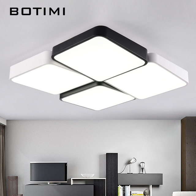 Botimi designer modern metal led ceiling lights white black square botimi designer modern metal led ceiling lights white black square rectangular dimmable lamps for bedroom corridor mozeypictures Image collections