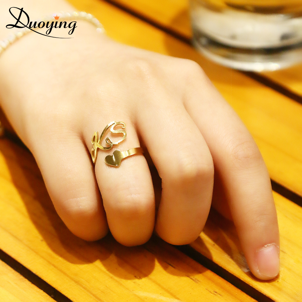 DUOYING Gold custom Spiral Ring Personalized Name Ring With Heart Custom Nameplate Ring Couple Lover Graduation Keepsake Gift